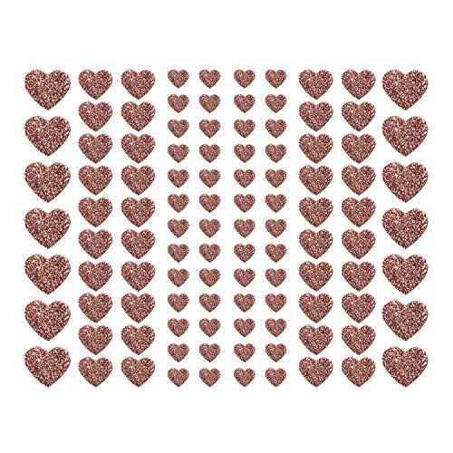 Oblique Unique® 106 Herz Aufkleber mit Glitzer Effekt in Roségold Herzen Sticker für Scrapbooking Deko Basteln Hochzeit Valentinstag