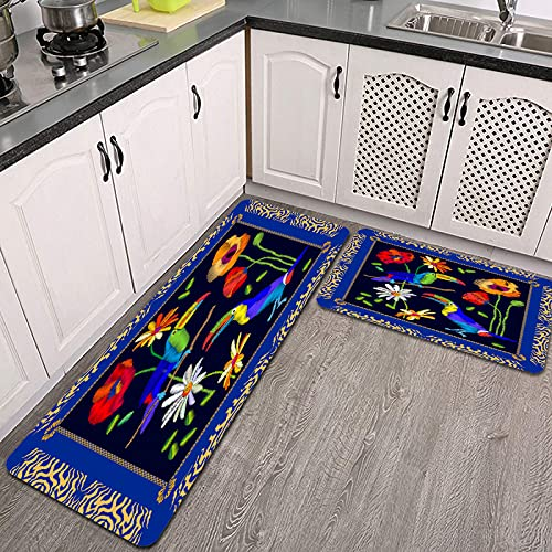 Juegos de alfombras de Cocina,pañuelo de Seda con Bordado de Aves exóticas amazónicas,Antideslizantes Lavables de 2 Piezas Alfombra súper Absorbente