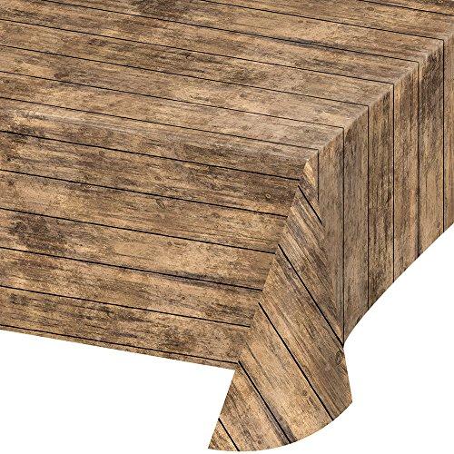 Creative Converting TABLECOVER PL 54' X 108' AOP BROWN Wood Grain Design Plastic Tablecloth, 54 x 108, Multicolor