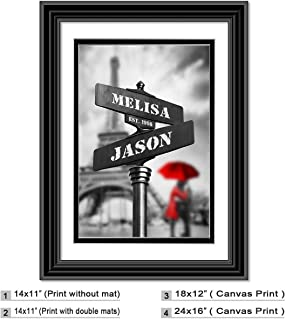 Lovers path-crossing sign - Personalized artwork with Couple`s Names and date on, wedding Anniversary gift, Valentine`s Day gift.