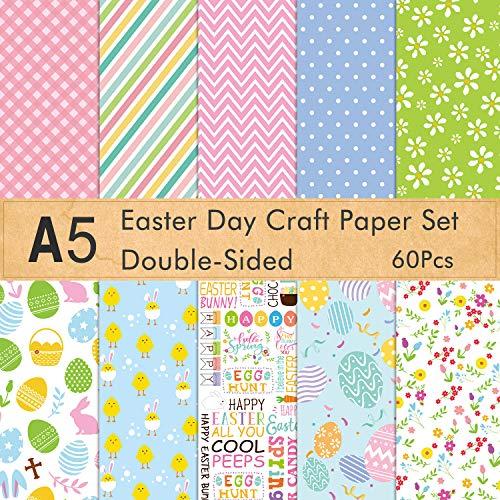FEPITO 60 Stück Ostern dekoratives Papier Set A5 Größe Bastelpapier für Ostern Karte Herstellung Scrapbook Dekoration, Doppelseite 10 Muster