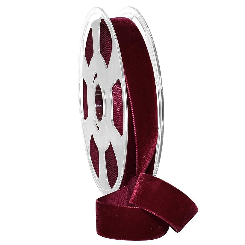 Morex Ribbon Nylvalour Velvet Ribbon, Nylon, 7/8 inches by 11 Yards, Wine, Item 01225/10-424, 7/8