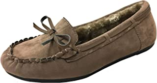 Wells Faux Soft Suede Fur Lining Moccasin Loafer Shoes Slippers, Camel, 5