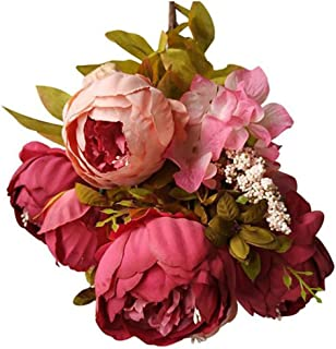 Oucan 1PC Artificial Peony Silk Flowers1,Vintage Fake Flowers Real Looking DIY Wedding Bouquets Centerpieces Arrangements Party Baby Shower Party Home Decorations