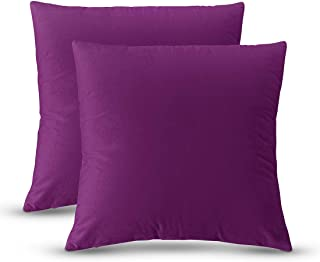 QUXIANG Pillow Covers Set of 2 Cotton Linen Decorative Square Throw Pillow Covers for Sofa Bedroom Car 18 x 18 Inch 45 x 45 cm (Purple)