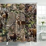 Camo Shower Curtain Bird Bear Deer Elk Foggy Forest Autumn Scene Farmhouse Bath Curtain Country Theme Shower Curtain Polyester Fabric Bathroom Curtain Accessories with Hooks 69x70inches