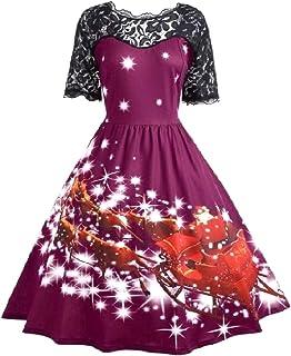 MogogoWomen Retro Short-Sleeve Full Circle Party Picnic Party Dress