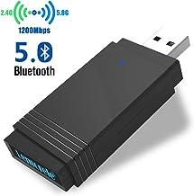 Lemorele Adaptador WiFi USB 3.0 AC1200Mbps USB Bluetooth 5.0 Adaptador de Banda Dual Súper Rápido 5.8G/2.4G WiFi Dongle MU-MIMO 5dBi para Windows 10/8.1/8/7/XP, Linux