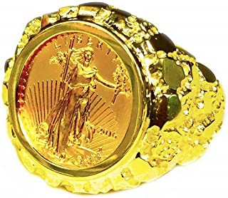 14K Yellow Gold Mens 22 Mm Nugget Coin Ring With A 22K 1/10 Oz American Eagle Coin-Random Year Coin