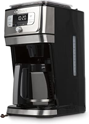 CUISINART DGB-800C Cuisinart Fully Automatic 12-Cup Burr Grind & BrewTM Coffeemaker, Black/Silver, 1 Count, Silver