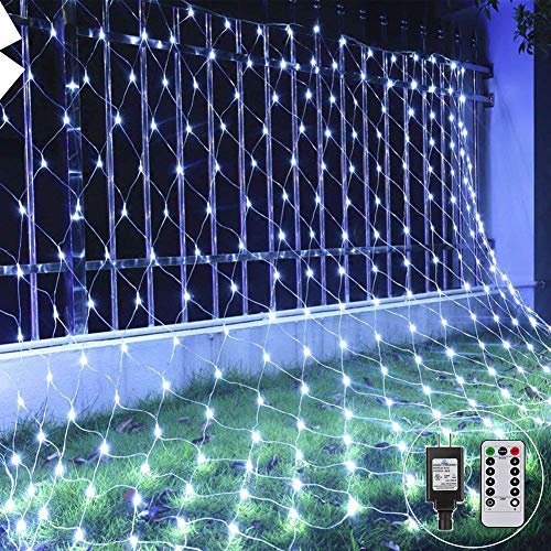 Net String Light Led Mesh Light Outdoor Tree wrap Lights 9.8ft x 6.6ft 200LED Connectable for Patio Lawn Garden backyard Thanksgiving Decor, 8Mode with Remote Controll (White)