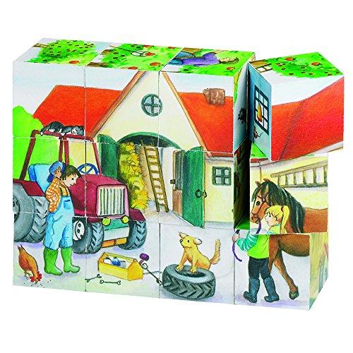Goki 57832 - Würfelpuzzle - Leben auf dem Bauernhof