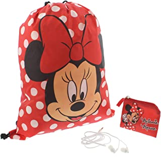 Minnie Mouse Girls Backpack Headphones and Coin Purse Gift Set (Red)