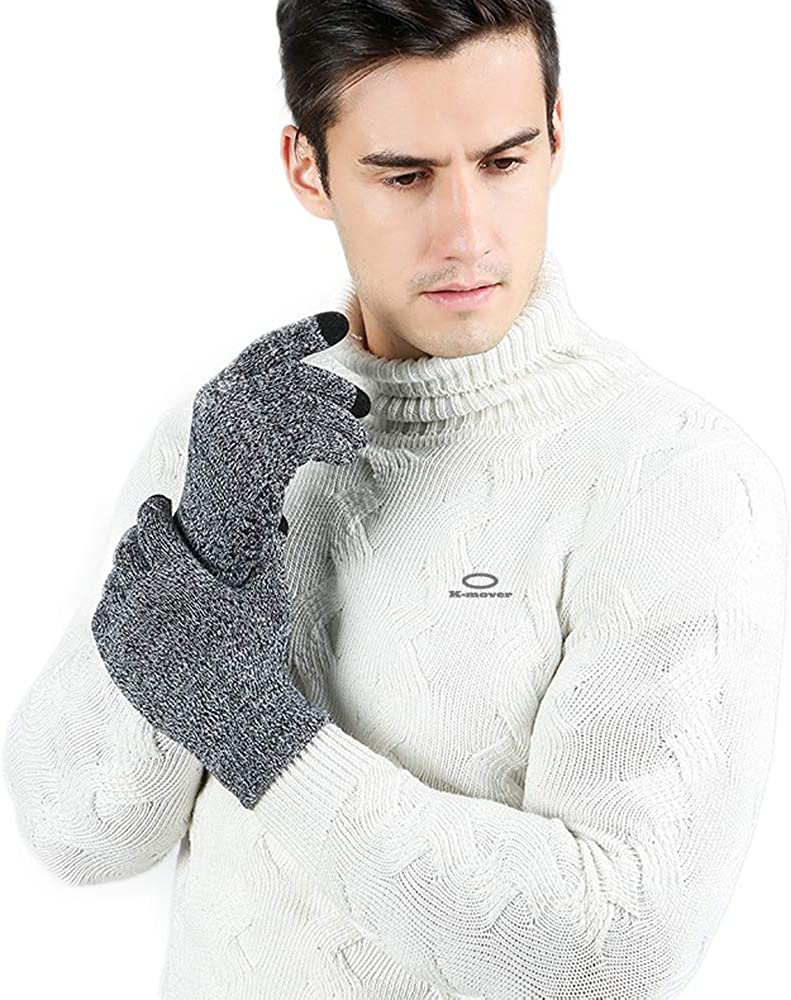 K-mover Winter Cold Weather Knit Gloves Touchscreen Warm Thermal Soft Lining Elastic Anti-Slip Gloves for Women and Men
