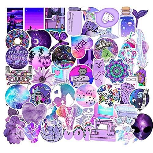 LSPLSP Bonita Funda de Viaje con Pegatina púrpura, Hermosa Bicicleta, Coche, Maleta, portátil, monopatín, Pegatina, Juguetes para niños, 50 Piezas