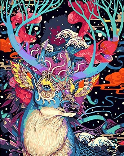 FGHJSF Pintar por Numeros Ciervo Azul Lienzo Pintura al óleo para Adultos y Niños DIY Pintura al Óleo por Números Decoración del Hogar - 40 x 50 cm (Sin Marco)