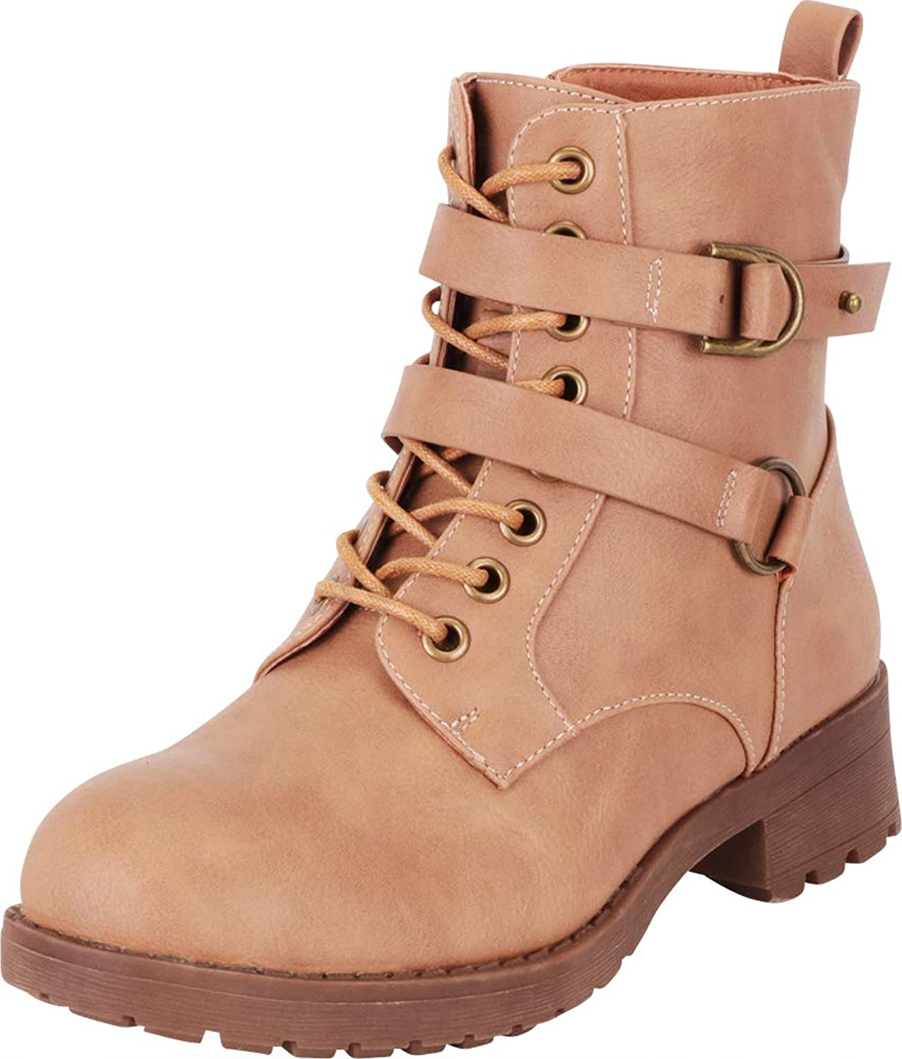 Cambridge Select Women's Crisscross Strappy Lace-Up Chunky Lug Sole Moto Combat Boot