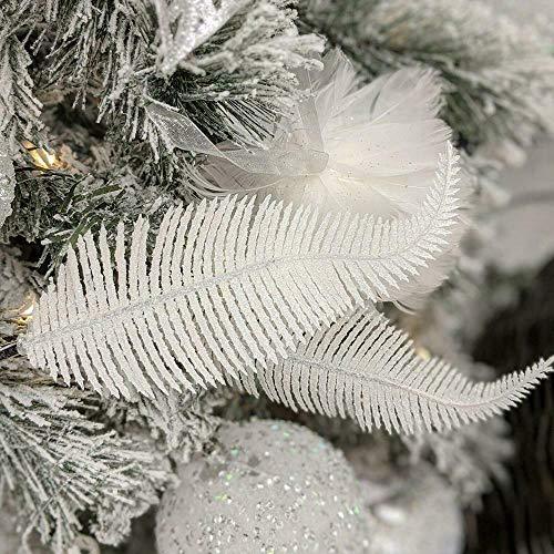 Yueshop 6pcs Christmas Tree Decoration Clip On Feather Glittery Baubles Ornament Personalised Christmas Bauble Xmas Decor Novelty Item 22cm (White)