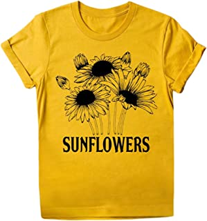 Women Summer T-shirt Tops, Ladies O-neck Sunflower Printed Short Sleeve Tee Shirt Tunic Blouse Top