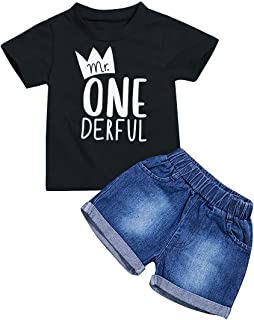 Toddler Baby Boy Clothes First Birthday Outfit Summer T-Shirt Denim Shorts Outfits Set Clothes