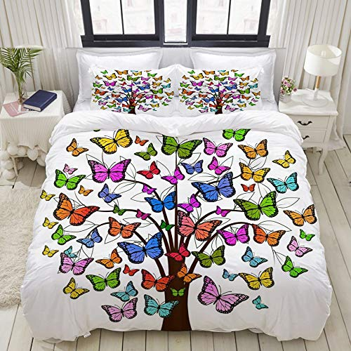 Dodunstyle Duvet Cover,Tree of Life Fashionable Colorful Abstract Tree with Butterflies for Girls Kids Theme Bloom Summer Life,Bedding Set Comfy Lightweight Sets