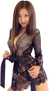 Lucaso レース ランジェリー セクシー下着 洋式 ドレス ブラックワンピース 長袖 ミニ スカート 透明 花柄 縦縞 シースルー 透け感 着痩せ プリント 長袖