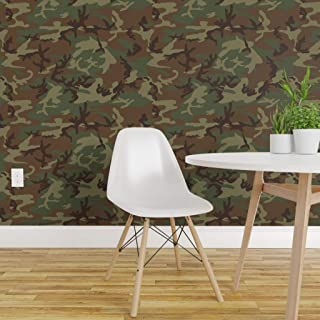 Spoonflower Peel and Stick Removable Wallpaper, Camouflage Adventure Woodland Camo Nursery Multicam Print, Self-Adhesive Wallpaper 12in x 24in Test Swatch