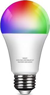 Bombilla LED Inteligente WiFi E27 Regulable Multicolor 9W 806 Lúmen, Lámpara Luces RGB 3000K-6500K, Compatible con Alexa y Google Home, 1 Unidad