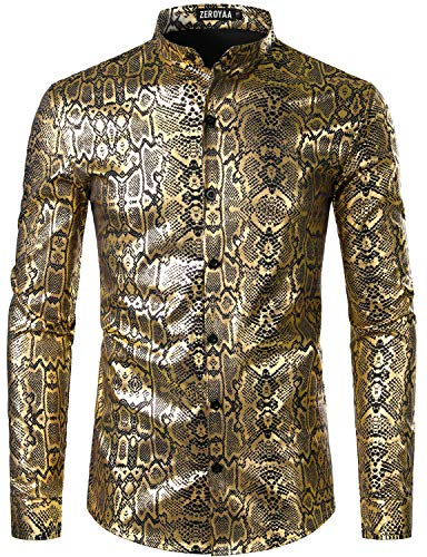 ZEROYAA Men's Nightclub Shiny Gold Snakeskin Printed Slim Fit Long Sleeve Banded Collar Party Shirt ZHCL43 Black Gold Small