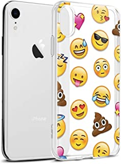 Eouine Apple iPhone XR Case, Case Transparent Clear with Pattern Ultra Slim Shockproof Soft Gel TPU Silicone Back Cover Bumper Skin for iPhone XR (Emoji)