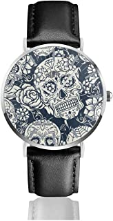 Day of The Dead Sugar Skull Women's Easy Reader Leather Strap 38mm Mens Watch with Silvery Stainless Steel Watchcase, Leather Band, Crystal Dial 1.5inch