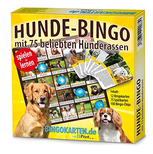 DiPrint Juego de bingo para perros con 75 de las razas de perros más populares.