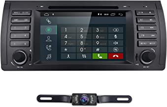 hizpo Car Stereo in Dash Radio DVD Player Fit for BMW E39 E38 M5 X5 5 Series, 1 Din 7 Inch Android 9.0 Car GPS Navigation Bluetooth 4G WiFi OBD2 DAB+ DTV TPMS 1080P + Rearview Camera