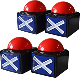 Pack of 4 Kids Adult Game Answer Buzzer Alarm Button Box with Sound Light Party Contest Prop Toy for Trivia Quiz Game