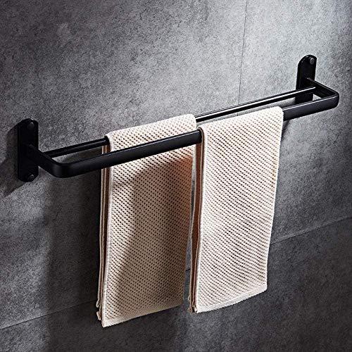 Badkamer-handdoekhouder, handdoekhouder, handdoekhouder, badkamerwandhouder, dubbel towel rek van aluminium met 2 stangen, afmetingen: 60 cm (maat: 01 dubbele klemmen