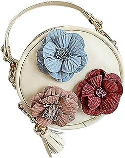 Wultia - Bags for Women 2019 WChildren Flowers Leather Circular Bag Flower Tassels Shoulder Messenger Bag Bolsa Feminina White
