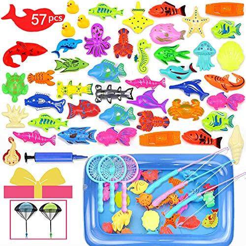Hook Juego de pesca para niños de 57 piezas, juego de pesca para niños en el jardín, juego de pesca para bañeras con agua a partir de 3 años, resistente al agua