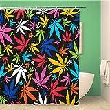 Awowee Dekorativer Duschvorhang mit bunten Cannabisblättern auf Muster, Marihuana Ganja Rauch, 152 x 180 cm, Polyester-Stoff, wasserdicht, Badvorhang-Set mit Haken für Badezimmer