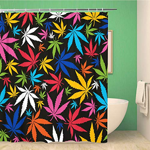 Awowee Dekorativer Duschvorhang mit bunten Cannabisblättern auf Muster, Marihuana Ganja Rauch, 180 x 200 cm, Polyester-Stoff, wasserdicht, Badvorhang-Set mit Haken für Badezimmer