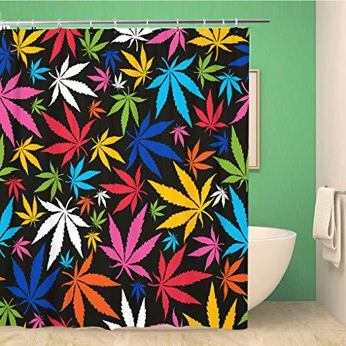 Awowee Decor Duschvorhang Unkrautmuster Bunte Cannabis Blätter auf Muster Marihuana Ganja Smoke 180 x 180 cm Polyester Stoff wasserdicht Badvorhänge Set mit Haken für Badezimmer