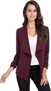 AUQCO Casual Open Front Blazer for Women Work Office Business Jacket Ruched 3/4 Sleeve Lightweight Draped Cardigan
