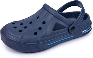 COOPCUP Zuecos para hombre, zapatos de jardín, sandalias de verano, para exteriores, piscina, baño, mulas, playa (45, azul)