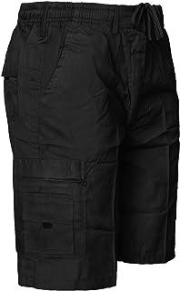 Mens Elasticated Waist Shorts Cargo Combat Summer Beach Cotton Pants S-6XL