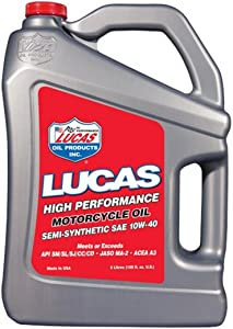 Lucas Oil 10775 SAE 10W-40 Semi-Synthetic Motorcycle Oil  Liter