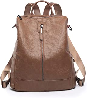 Xuan Yuan Backpack - Women's Simple Joker PU Soft Leather Backpack, College Leisure Travel Bag, Fashion Large Capacity Business Bag [Black and Brown] Backpack (Color : Brown)