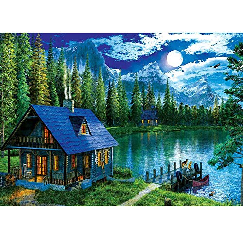 DIY 5D Diamond Painting by Numbers Kits, Mountain Lake Forset Cabin Landscape, Full Drill Rhinestones Paint with Diamonds Crystal Diamond Art (Forset)