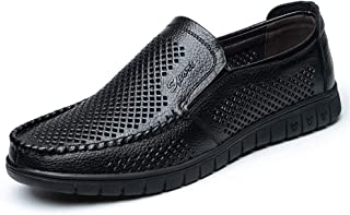 Fashion Business Loafers for Men Driving Loafers Genuine Leather Perforated Hollow Out Soft Rubber Soles Walking Round Toe Men's Boots (Color : Black, Size : 6.5 UK)