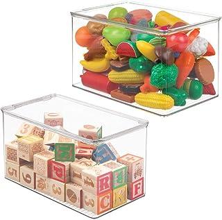 mDesign Juego de 2 Cajas de almacenaje con Tapa – Organizador de Juguetes de plástico – Cajas para Juguetes apilables para...