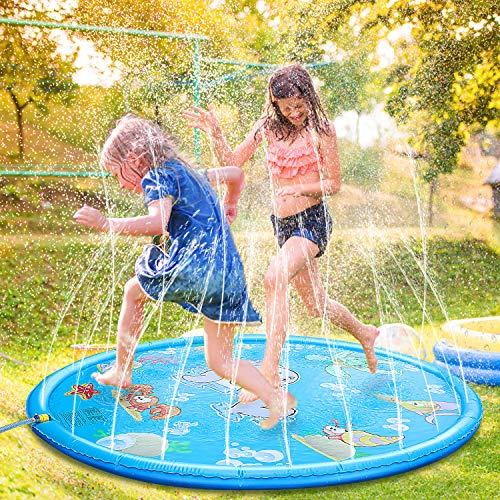 Fostoy Splash Pad, Wasser-Spielmatte Sprinkler und Splash Play Matte Wasserspielzeug Spielmatte Kinder Baby Pool Pad Outdoor Sommer Garten Spielzeug für Familie Aktivitäten/Party/Strand/Garten