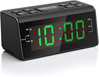 "Digital Alarm Clock Radio with AM/FM Radio, 1.2"" Big Green Digits Display, Sleep Timer, Dimmer and Battery Backup, Bedside Alarm Clocks with Easy Snooze for Bedrooms, Table, Desk – Outlet Powered"